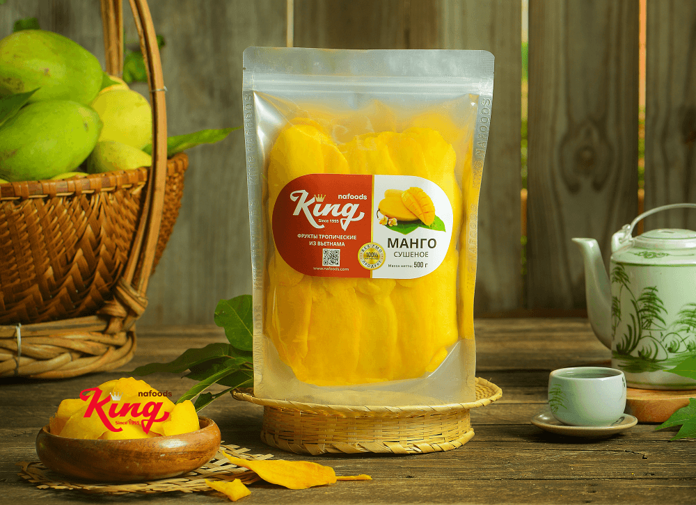 Soft dried mango Kingfoods - Sweet and sour flavor, lint-free and no addictives
